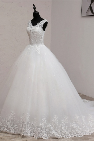 BMbridal Ball Gown V-Neck White Tulle Wedding Dresses Sleeveless Lace Appliques Bridal Gowns with Beadings_5