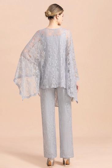 BMbridal Elegant V-Neck Appliques Silver Mother of Bride Jumpsuit with Lace Wraps_3