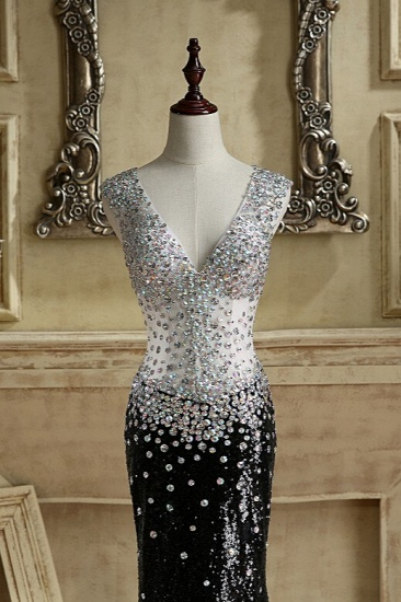 BMbridal Sparkly V-Neck Black Sequined Prom Dresses Mermaid Sleeveless Crystals Party Dresses On Sale_4