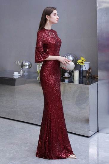 BMbridal Burgundy Short Sleeve Sequins Prom Dress Long Party Gowns Online_9