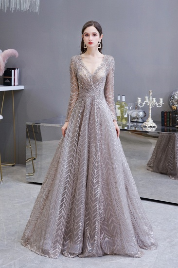 Sexy V-Neck Long Sleeve Prom Dress Appliques A-Line Evening Gowns