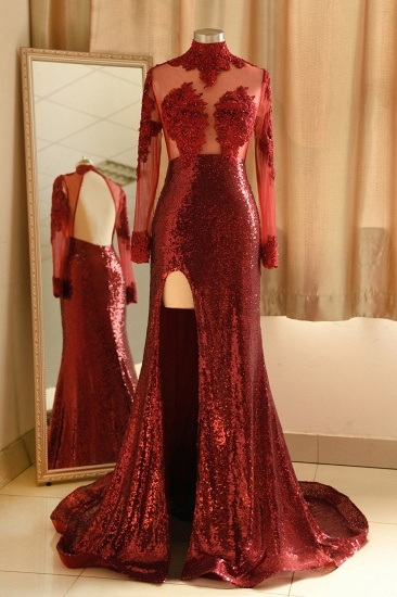 Sexy High-Neck Burgundy Sequined Slit Prom Dresses Long Sleeves Appliques Backless Formal Dress with Sheer Top_1