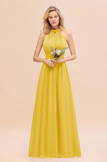 Glamorous High-Neck Halter Bridesmaid Affordable Dresses with Ruffle_17