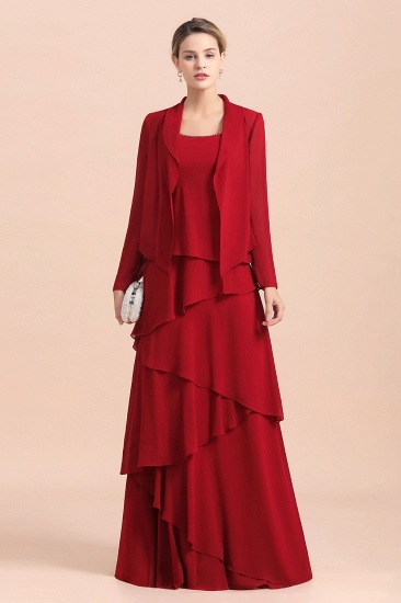 Elegant Burgundy Chiffon Mother of the Bride Dress Ruffles With Jacket