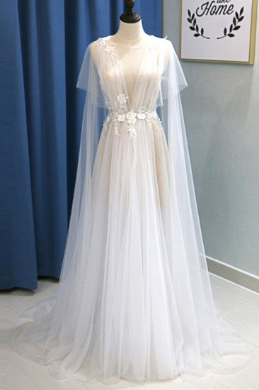 BMbridal Glamorous White Tulle V-Neck Beach Wedding Dress A Line Flower Bridal Gowns On Sale_1