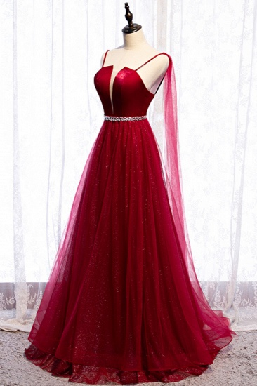 Stunning Spaghetti Straps Tulle Burgundy Prom Dresses V-Neck Sleeveless Sequins Evening Dresses Online_4