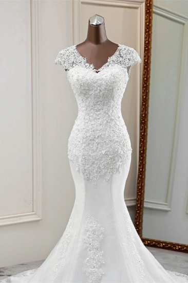 Luxury V-Neck Sleeveless White Lace Mermaid Wedding Dresses with Appliques_6