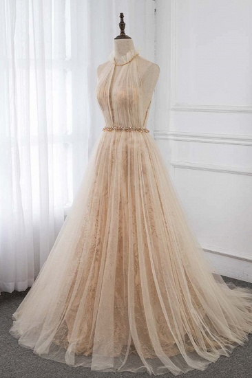 BMbridal Elegant Tulle Jewel Appliques Ruffle Prom Dresses with Beadings Sash_4