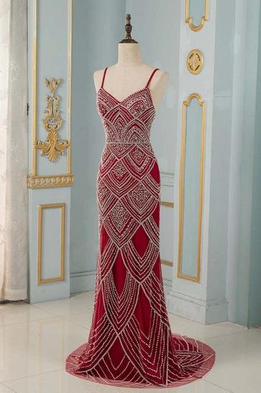 BMbridal Chic Spaghetti Straps Burgundy Mermaid Prom Dresses with Rhinestones_4