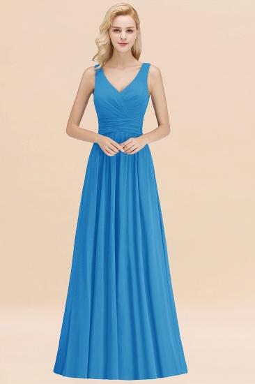 Modest Sleeveless V-Neck Long Chiffon Bridesmaid Dress Online with Ruffle_25