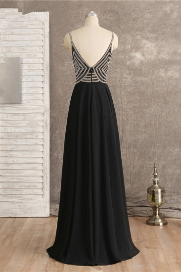 BMbridal Sexy Spaghetti Straps V-Neck Black Prom Dresses Sleeveless with Ruffles Beadings On Sale_3