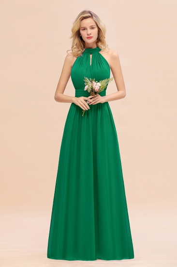 Glamorous High-Neck Halter Bridesmaid Affordable Dresses with Ruffle_49