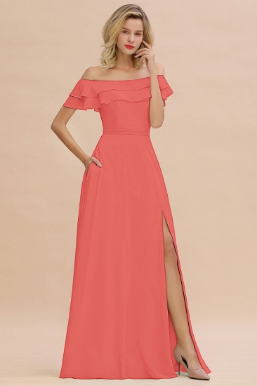 Exquisite Off-the-shoulder Slit Mint Green Bridesmaid Dress With Pockets_7