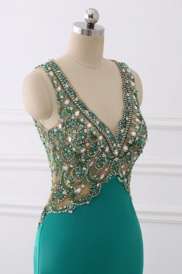 Sexy V-Neck Appliques Mermaid Prom Dresses Sleeveless with Crystals On Sale_7