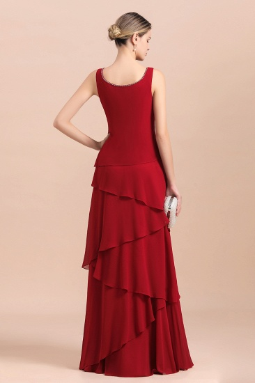 BMbridal Elegant Burgundy Chiffon Mother of the Bride Dress Ruffles With Jacket_7