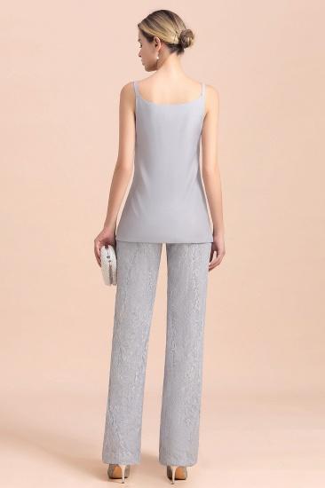 BMbridal Elegant V-Neck Appliques Silver Mother of Bride Jumpsuit with Lace Wraps_10