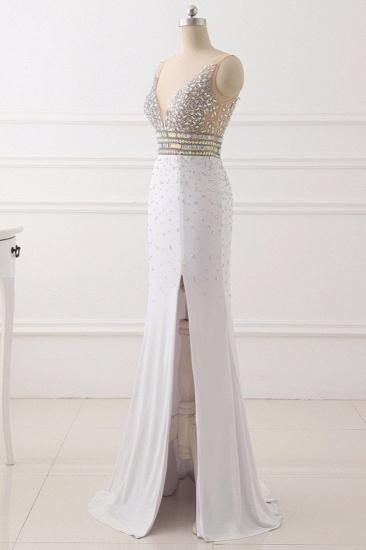 Chic Chiffon V-Neck Rhinestones Prom Dresses with Front Slit On Sale_4