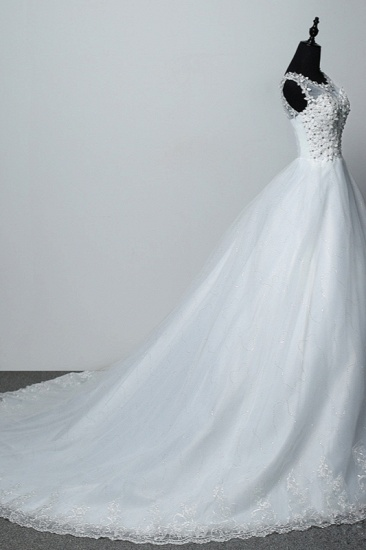 Elegant Jewel White Tulle Ball Gown Wedding Dresses Sleeveless Appliques Bridal Gowns with Rhinestones_4