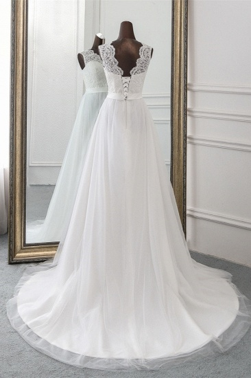 Elegant Tullace Jewel Sleeveless White Wedding Dresses with Appliques Online_3