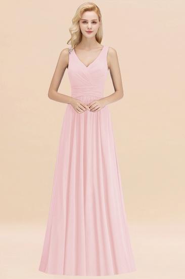 Modest Sleeveless V-Neck Long Chiffon Bridesmaid Dress Online with Ruffle_3