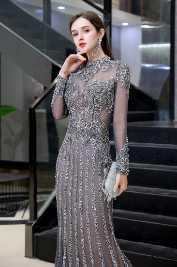 BMbridal Gorgeous Long Sleeve Mermaid Prom Dress With Sequins High-Neck Evening Gowns_5
