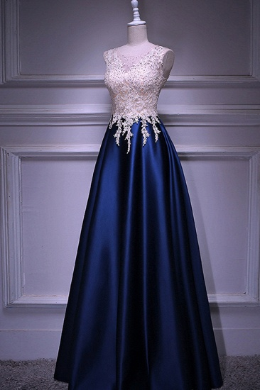 Elegant Jewel Dark Navy Beadings A-Line Prom Dresses Sleeveless Appliques Ruffle Party Dresses On Sale_4