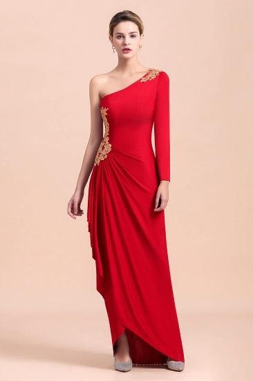 BMbridal Chic One-Shoulder Long Sleeves Ruffle Mother of Bride Dresses with Appliques_5