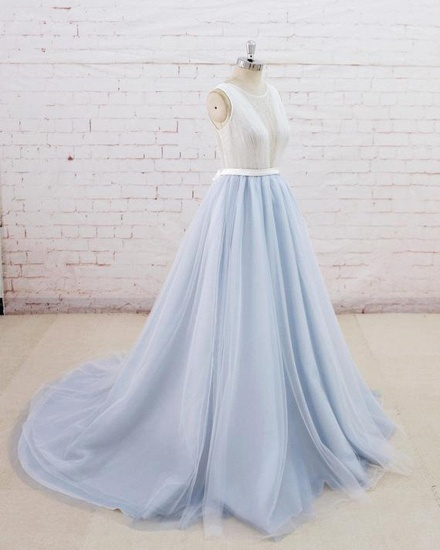 Gorgeous Light Blue Tulle Lace Wedding Dress Sheer Back Summer Bridal Gowns On Sale_3