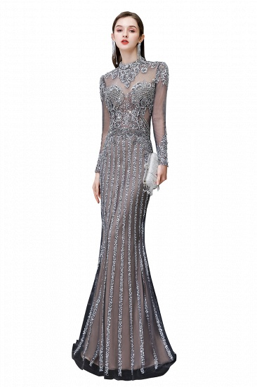 BMbridal Gorgeous Long Sleeve Mermaid Prom Dress With Sequins High-Neck Evening Gowns_1