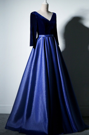 Elegant V-Neck Satin A-Line Prom Dresses Long Sleeves Party Dresses On Sale_8