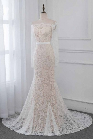 Boho Off-the-Shoulder Champagne Wedding Dresses Long Sleeves Mermaid Appliques Bridal Gowns_4