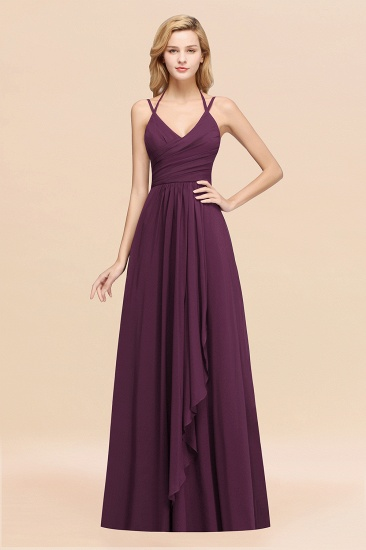 Affordable Chiffon Burgundy Bridesmaid Dress With Spaghetti Straps_20