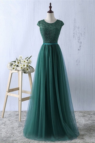 Elegant Dark Green Tulle Jewel Prom Dresses Sleeveless with Appliques Online_1