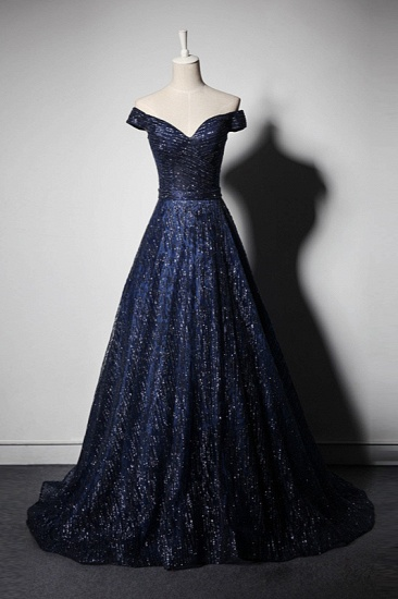 Glamorous Off-the-Shoulder Dark Navy Prom Dresses Sweetheart Sleeveless Sequins Formal Dresses Online