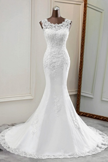 Glamorous Jewel Lace Beading Wedding Dresses Sleeveless Appliques Mermaid Bridal Gowns