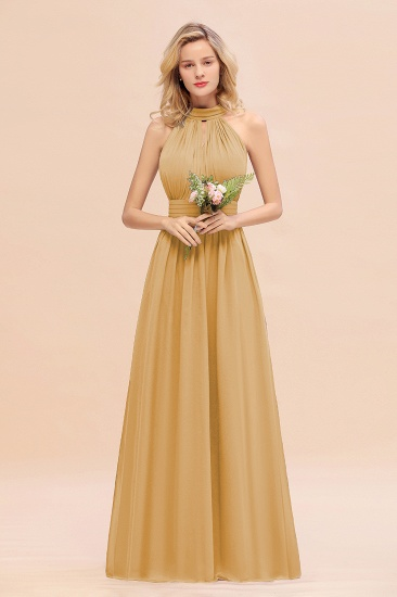 Glamorous High-Neck Halter Bridesmaid Affordable Dresses with Ruffle_13