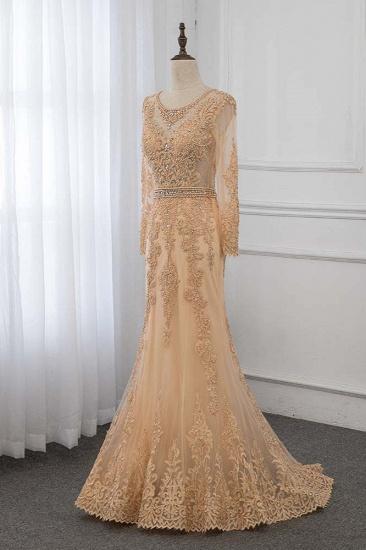 BMbridal Luxury Jewel Long Sleeves Mermaid Prom Dresses with Rhinestone Appliques Online_4