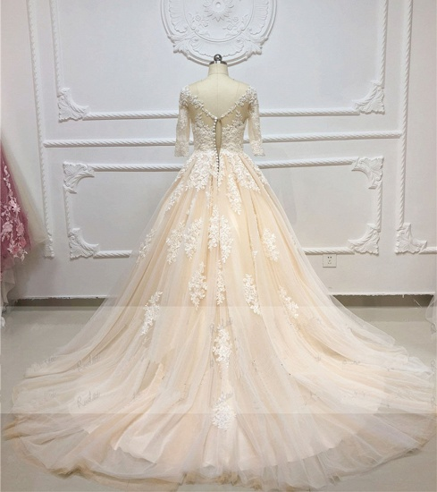 Gorgeous Champagne Tulle Half Sleeve Long Wedding Dress White Lace Applique Bridal Gowns On Sale_3