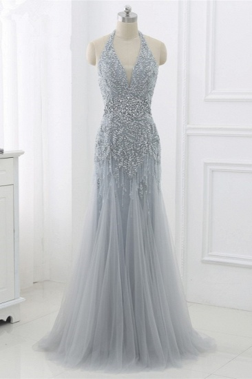 BMbridal Elegant Tulle Halter Rhinestones Mermaid Prom Dresses Sleeveless Appliques Online_7
