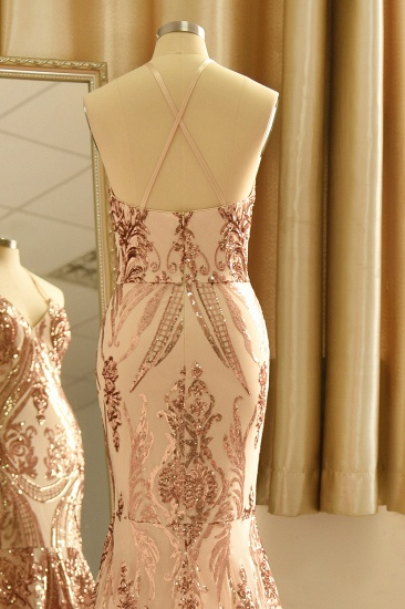 Sexy V-Neck Rose Gold Prom Dress Mermaid Long Sequins Evening Party Gowns_6