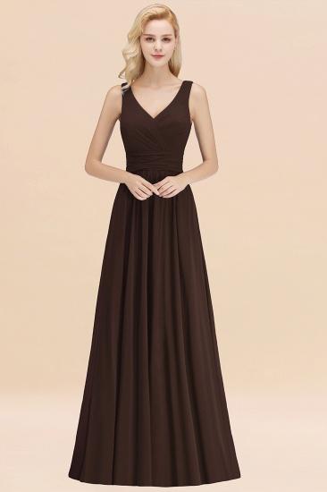 Modest Sleeveless V-Neck Long Chiffon Bridesmaid Dress Online with Ruffle_11