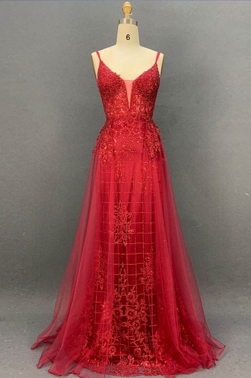 Sexy Spaghetti Straps V-Neck Prom Dresses with Gold Appliques Beadings_3