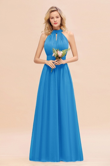 Glamorous High-Neck Halter Bridesmaid Affordable Dresses with Ruffle_25