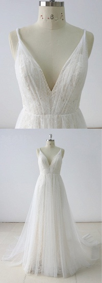 BMbridal Gorgeous Simple White Lace V-Neck Long Wedding Dress Sleeveless Appliques Bridal Gowns On Sale_4