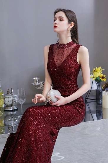 BMbridal Gorgeous Burgundy Sequins Long Mermaid Prom Dress On Sale_9