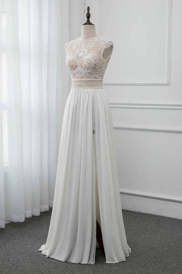 BMbridal Chic Jewel Chiffon Ruffle White Wedding Dresses Lace Top Sleeveless Bridal Gowns with Pearls_5