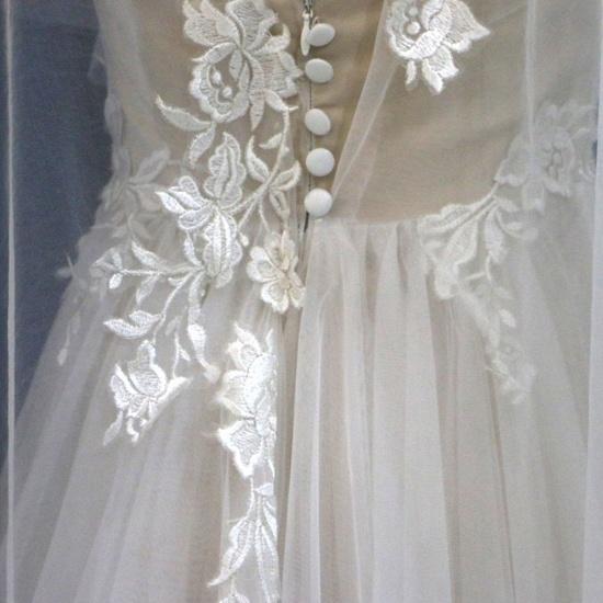 BMbridal Glamorous White Tulle V-Neck Beach Wedding Dress A Line Flower Bridal Gowns On Sale_6