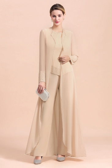 BMbridal Champagne Long Chiffon Mother of the Bride Dress Two Pieces With Jacket