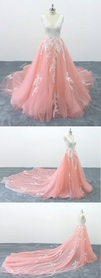 BMbridal Chic Peach Pink Tulle Lace Wedding Dress Cathedral Train Bridal Gowns On Sale_5