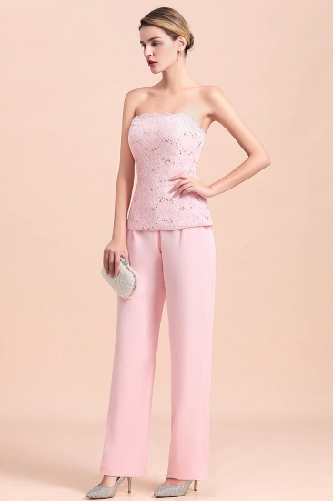 BMbridal Elegant Strapless Appliques Mother of Bride Jumpsuit with Long Sleeves Wraps_11